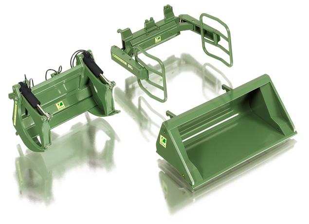 Wiking 7383 Frontladewerkzeuge Set A - Bressel & Lade grün