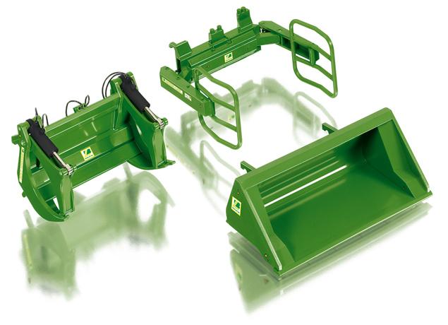Wiking 7381 Frontladewerkzeuge Set A - John Deere grün