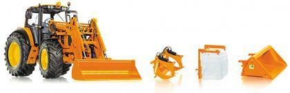 Wiking 7342 John Deere 7430 Premium Kommunal mit Frontlader und Werkzeugen